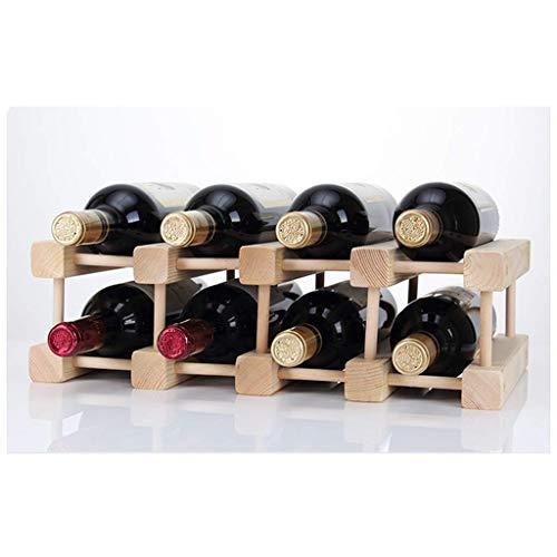 YLCJ Estante de Vino Estante de Vino de Madera Maciza Estante de exhibición Pino Botella múltiple Estante de Vino El Estante de Vino de Madera Puede ser una decoración Creativa