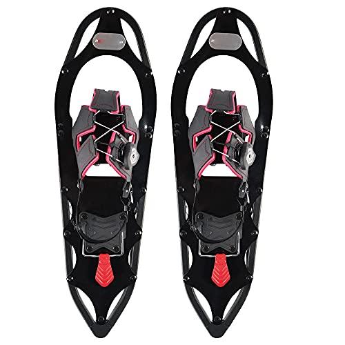 Wxnnx Raquetas de Nieve 25 Pulgadas Tamaños de Calzado 38 a 45 Peso del Usuario hasta 130 kg Incluye Bolsa de Transporte Postes telescópicos Opcionales,A