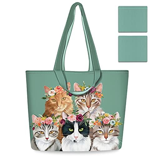 NymphFable 2 Pezzi Tote Bag Riutilizzabili Gatti Carini Pieghevole Sacchetti Spesa Grande Borsa Spesa Shopping Bag
