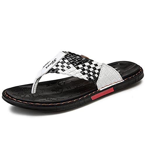 LSDTZ Zapatos Diapositivas Planas Sandalias Informales Suaves Para Hombre Zapatillas De Verano De Cuero Chanclas Tejidas Sandalias De Playa (Color : White, Size : 39yards)