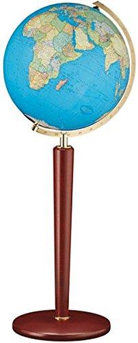 Columbus Duo Leuchtglobus Standmodell: 51 cm Durchmesser. Mundgeblasene Kristallglaskugel, traditionell handkaschiertes Kartenbild Edelholz-Säulenfuß, massiv, Mahagoni gebeizt, Metallmeridian Messingausführung, einseitig gradiert, OID-Code