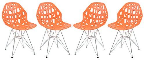 LeisureMod Calvert Modern Dining Side Chair with Chrome Legs Set of 4 (Orange)