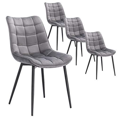 WOLTU 4 x Esszimmerstühle 4er Set Esszimmerstuhl Küchenstuhl Polsterstuhl Design Stuhl mit Rückenlehne, mit Sitzfläche aus Samt, Gestell aus Metall, Hellgrau, BH142hgr-4