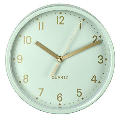 Hama analoge Wanduhr inkl. Batterie (geräuscharme Uhr ohne Ticken, batteriebetriebene Tischuhr mit Standfuß und schleichendem Sekundenzeiger, zum Hängen und Stellen, 16 cm rund) mint, gold