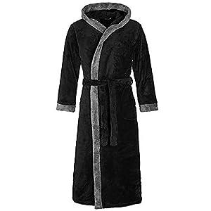 VJGOAL Invierno de Las Mujeres de Moda Casual Color sólido con Bata Pijamas Alargado de Manga Larga de Felpa Chal Albornoz Bata de Noche Bata de baño(Medium,Negro)