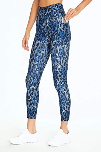 Bally Total Fitness Leggings mit hoher Taille und Taschen, Damen, knöchellange Leggings, High Rise Pocket Ankle Legging, Leopard Marineblau Pfingstrose, Large