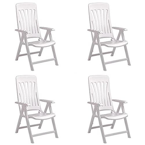 RESOL Blanes Set 4 Sillones de Jardín Reclinables 5 Posiciones con Respaldo Alto Aireado y Reposabrazos   Plegable, Ligero y Cómodo con Multiposición - Color Blanco