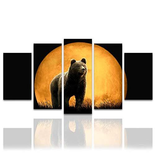 wangdazhuang 5 Lienzos Cuadros Grandes Baratos Luna De Oso Negro - Animal Cartel De La Decoración De Arte De La Sala De Estar con El Marco-150X80Cm