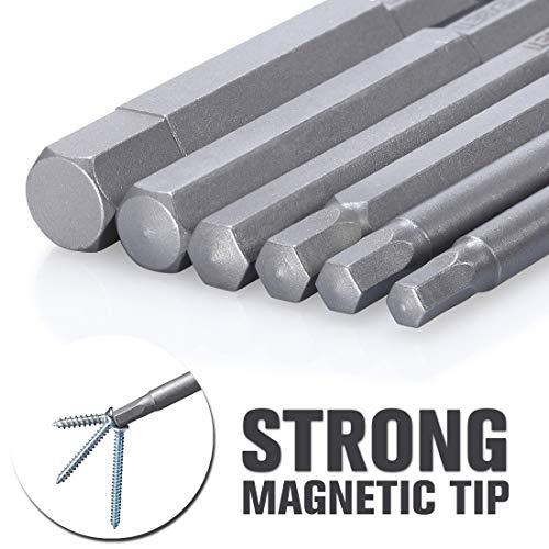 REXBETI Hex Head Allen Wrench Screwdriver Bit Set, SAE 1/4 Inch Hex Shank S2 Steel Magnetic 3 Inch Long Drill Bits, 1/16-3/8 Inch, 12 Piece