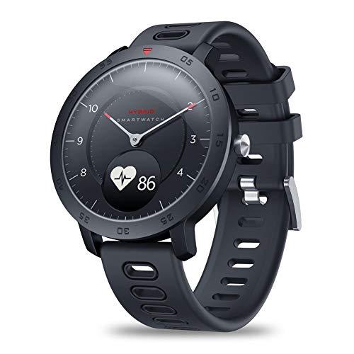 Pbzydu 0,49-Zoll-Bildschirm Ultra-Lange Standby-Zeit Multifunktions-Zeblaze HYBRID Smartwatch, Herzfrequenzmesser-Smartwatch, für Frauen-Chat Online-Anruf Mann(Black)