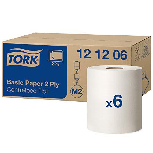 Tork 121206 Standard Papierwischtücher weiß für M2 Wischtuch Spender mit Innenabrollung – Wischtücher aus Papier 2-lagig & geprägt - 6 Rollen x 160 m, perforiert - 457 Tücher (20 x 35 cm) pro Rolle