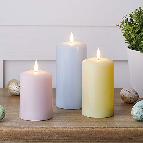 Lights4fun Set of 3 Pastel TruGlow Battery LED Flameless Pillar Candles Real Ivory Wax Timer 15cm