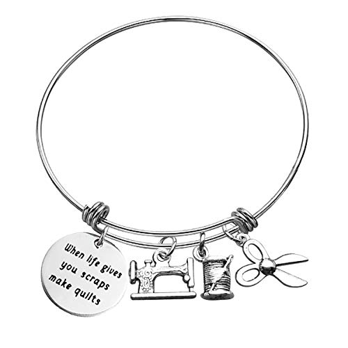 Baixian Sewing Gifts for Women Girls Inspirational Bracelet Gifts When Life Gives You Scraps Make Quilts Sewing Lover Gift Sewing Bracelet Jewelry for Birthday Christmas Gifts for Designer Family Best Friend, Silver, Small