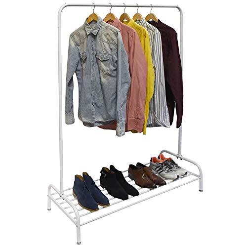 Vinsani - Perchero de metal resistente con barra para colgar y estante inferior, diseño minimalista moderno, para vestidos, cajas y zapatos, 160 x 45 x 120 cm, color blanco