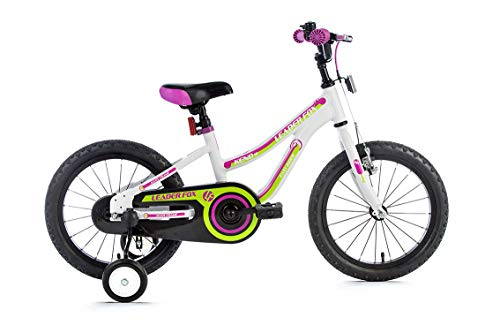 16 Zoll Alu LEADERFOX Kinder Mädchen Fahrrad MTB Stützräder Rücktritt Weiss lila