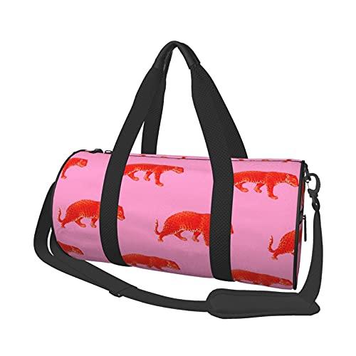 Borsone da viaggio vintage con ghepardi in rosso corallo per sport e palestra, per uomini e donne, piccolo borsone per sport, palestre e weekend