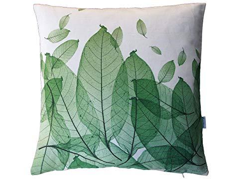 Blätterkissen, grün, Baumwolle, 50x50 cm Hülle, Natur Motiv, Deko, Sofa, Garten