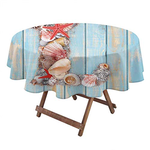 Letter L Machine washableMonochrome Tablecloth Ocean Inspired Theme Alphabet Design Letter L with Marine Elements Easy Care Tablecloth 60 Inch Round Pale Blue Ivory Dark Coral