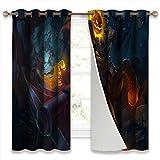 Juego de 2 cortinas a prueba de sonido para ventana, sin cabeza, cabeza de calabaza Hecarim, juego de 2 paneles de cortina de 52 x 63 pulgadas