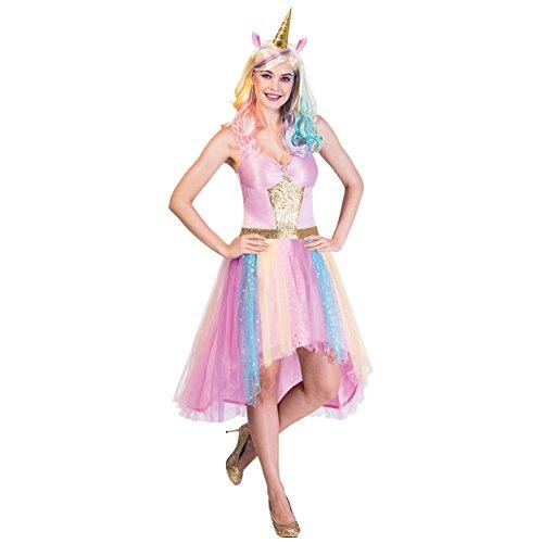amscan with Unicorn Headband 10-12-1 PC Robe Pastel avec Bandeau Licorne – Taille 38-40 – 1 pièce, 9903585, Multicolore, UK Dress Size: 10-12