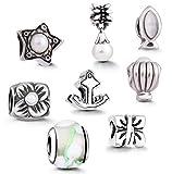 AKKi jewelry Abalorios para pulsera de mujer con 8 colgantes, set de iniciación, colgante original de acero inoxidable para pulsera de cama