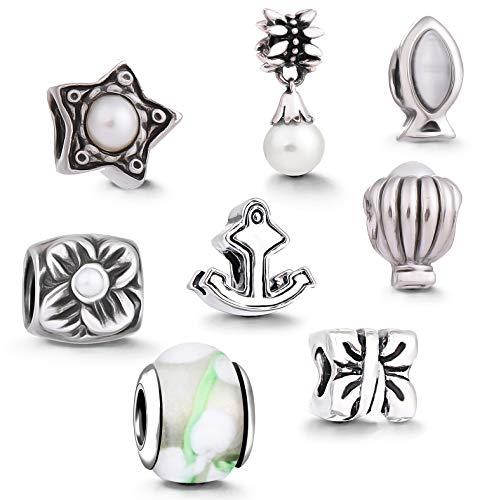 AKKi jewelry Damen Beads Charms für Armband 8 Anhänger Starter-Set, Charm Original Schmuck Edelstahl bettelarmband Perle