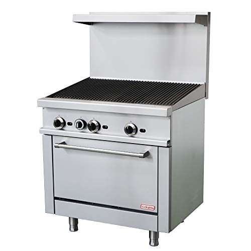 """Backychu Commercial Gas Range 36"""" Rotisserie Barbecue Grill and Oven Natural Gas with Liquid Propane Conversion Kit for Restaurant, Kitchen, Catering, BBQ Equipment, 138,000 BTU Charbroilers Commercial"""