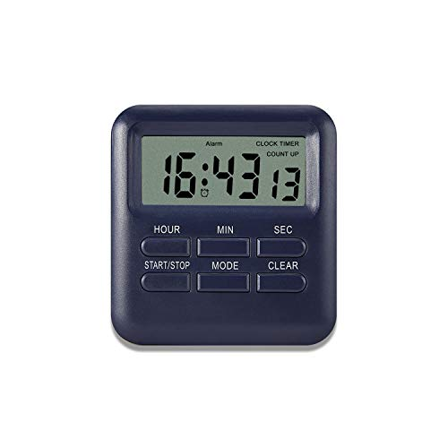 DOBAOJIA Timer Sveglia Orologio Digitale 3 in 1, Timer da Cucina Multifunzionale con Retro Magnetico, Cronometro Manager del Tempo Funzionamento Facile, Conto su/Giù Vibrazione/Beep (Blu Scuro)