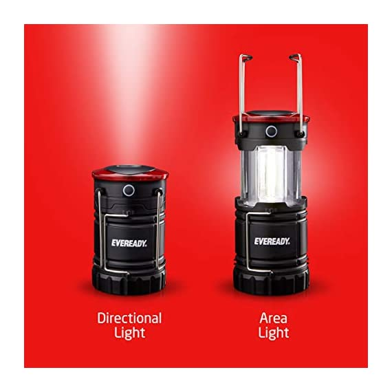 Eveready 360 led camping lantern, ipx4 water resistant, super bright, 100 hour run-time, battery powered outdoor led… 4 : includes 2 (two) eveready collapsible camping led lanterns each lantern operates with 3 aa batteries (included), so you have the power and light you need, right out of the box. : the led lantern provides super bright, white led light as a lantern, or can be used as a flashlight for directional lighting. 360 degress of room, or campsite-filling light! : use the strong magnetic base on these lanterns to mount the light, or simply hang it with the convenient base hook - perfect for hanging in tents!