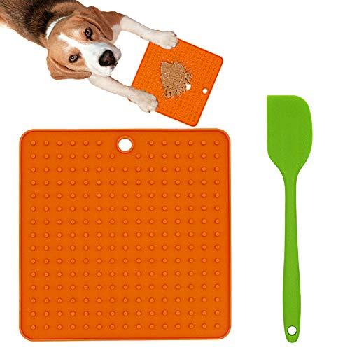 Ley's Dog Lick Pad Hundetraining Langsame Leckerli-Dosierung, Silikon-Leckmatte für Hunde, für Futter oder Leckerlis, für langsames Füttern, Orange