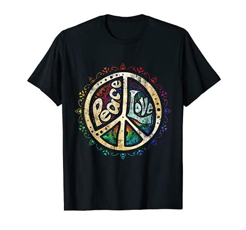Retro Psicodélico Paz Signo Hip Funky Radical Camiseta
