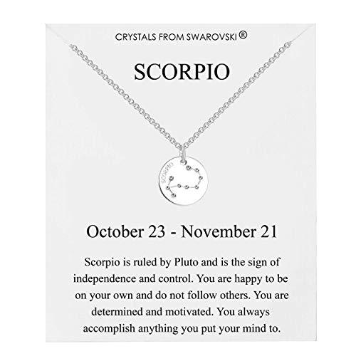 Philip Jones Scorpio Star Sign Disc Necklace Created with Austrian Crystals