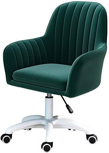 Silla de Oficina Silla ergonómica de Escritorio con Terciopelo tapizado y Mudo Caster Ajustable 360 Silla giratoria Verde