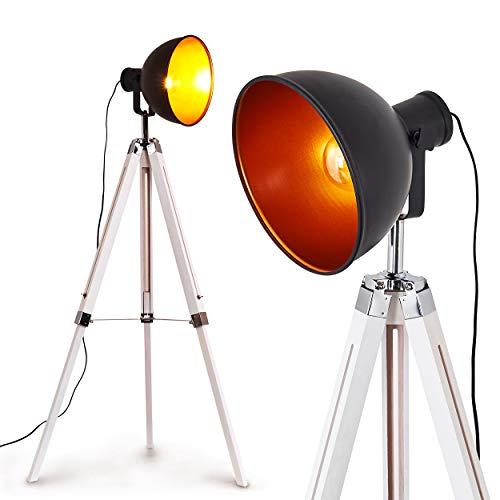Staande lamp Jupiter, vintage vloerlamp in zwart/koper metaal, houten frame in wit, Ø 30cm, E27 fitting, max. 60 Watt, verstelbare vloerlamp retro design, geschikt voor LED-lampen