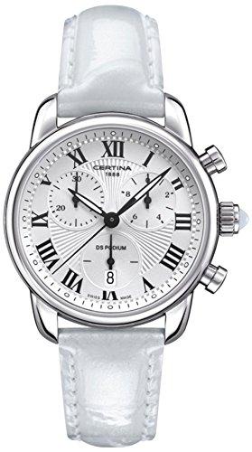 Certina - Orologio da polso, cronografo al quarzo, pelle, Donna
