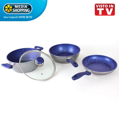 Pentole Blu FLAVORSTONE antiaderenti per cucinare senza grassi originali MEDIASHOPPING viste in TV