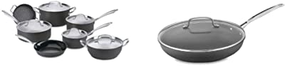 Cuisinart GG-12 GreenGourmet Hard-Anodized Nonstick 12-Piece Cookware Set & 622-30G Chef's Classic Nonstick Hard-Anodized 12-Inch Skillet with Glass Cover, Black