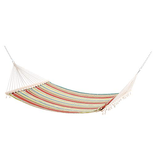 Outsunny Double Outdoor Patio Cotton Hammock Swing Bed with Pillow, 188 x 140 cm, Green