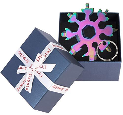 Schneeflocke Multi-Tool, 18-in-1 Multifunktionswerkzeug für Outdoor EDC Multitool Edelstahl Multifunktionswerkzeug (Geschenkbox-Bunt)