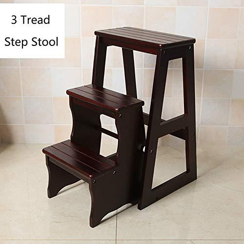 Inklapbare trapladder van massief hout, 3 ladders van hout, kleine voetensteun, binnenbank, draagbaar, badkamerstoel ccgdgft #2