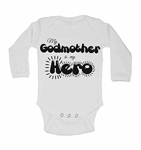 My marraine est My Hero – personnalisé bébé à manches longues gilets bodies bébé SE Développe pour garçons, filles – Blanc – 2–3 ans