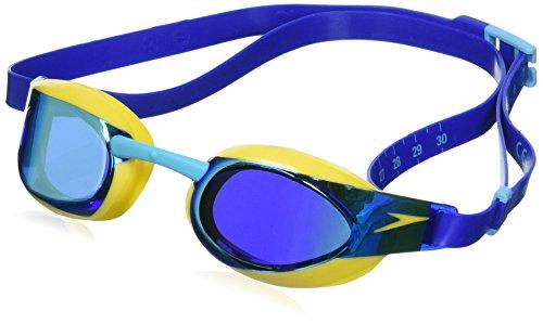 Speedo Fastskin Elite Mirror Gafas de Natación, Unisex niños, Amarillo Imperio/Azul, Talla Única