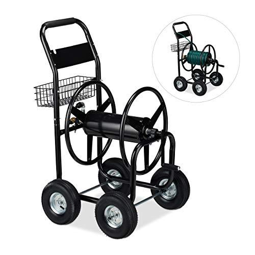 Relaxdays Schlauchwagen Metall, 4 Gummiräder, XL Schlauchtrommel, Kurbel, f. 60m Schlauch, HBT 114 x 64 x 90 cm, schwarz
