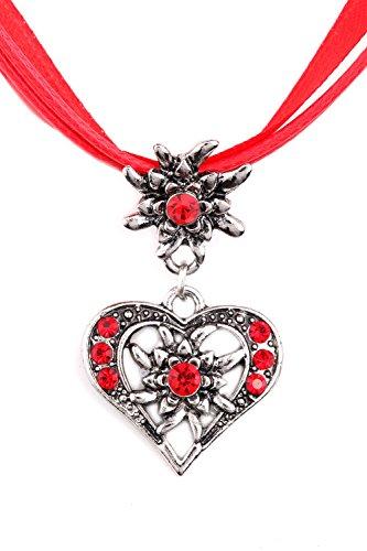Blaues Land Trachtenkette Strass-Herz Trachtenschmuck Dirndlkette Halskette (Rot)