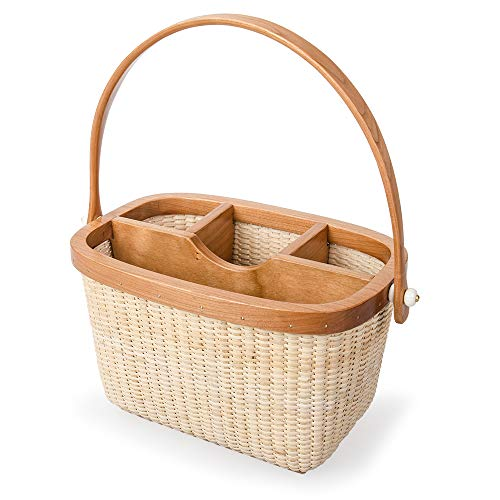 Teng Tian Nantucket Utensil Caddy Silverware Napkin Holder and Condiment Organizer Multi-Purpose Rattan Caddy Ideal for Kitchen Dining Entertaining Tailgating Picnics and Much More