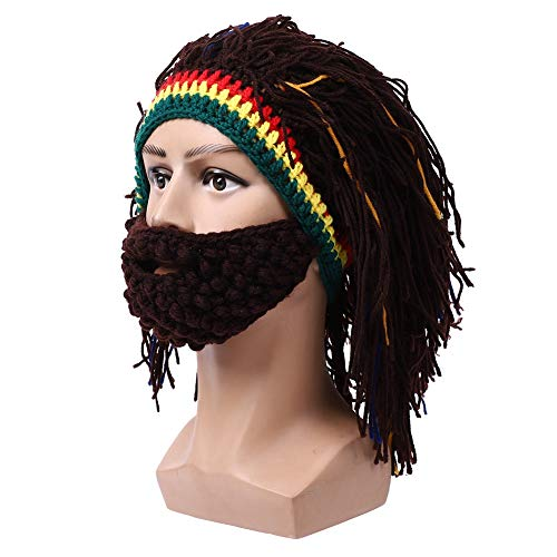 Changor Sombrero ancho de la peluca, sombrero de la peluca de Dreadlock, sombrero divertido de punto de lana, disfraz largo rizado discoteca punk masculino, para actividades al aire libre