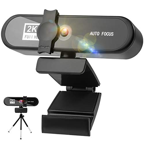 Webcam 2K Full HD con Micrófono y Cubierta de Privacidad, 2592P USB Web Camera Con Trípode para Mac Windows Portátil Videollamadas Conferencias Juegos Plug y Play, Cámara Web para Skype Zoom Youtube