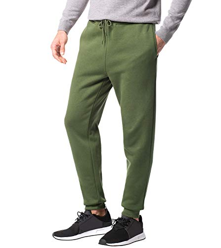 LAPASA Herren Jogginghose Sweatpants Jogger Baumwolle Innenfleece Enger Beinabschluss MEHRWEG M22 (Grün, L (letzter Abbildung zufolge))