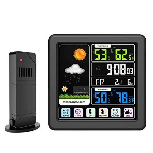 LICHUXIN Wetterstation Mondphase Datumsanzeige Snooze-Sensor Touch-Wettervorhersage Temperatur und Luftfeuchtigkeit überwacht Hintergrundbeleuchtung EIN-klick-Tipps Sperre Komfort,Schwarz