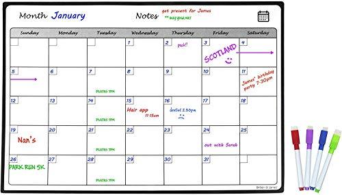 Premium Monthly Magnetic Fridge Planner von Britten und James - Enthält 4 kostenlose Trockenlöschmarker - für Termine, Kinderclubs, Erinnerungen und Aktivitäten